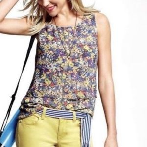 CAbi floral double layer sleeveless top